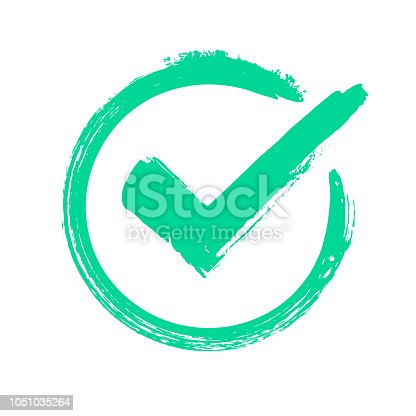 Green grunge check mark. Correct answer, checking vote or choice approval icon, checks brush mark. label Checked circle accept quality stamp vector symbol