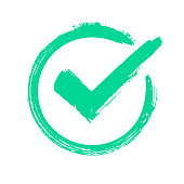 Green grunge check mark. Correct answer, checking vote or choice approval icon. Checked circle vector symbol