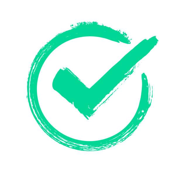 zielony znacznik wyboru grunge. poprawna odpowiedź, sprawdzanie głosu lub ikona zatwierdzenia wyboru. zaznaczony symbol wektora okręgu - pieczęć gumowa stock illustrations