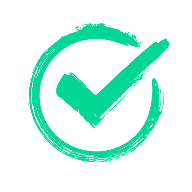 Green grunge check mark. Correct answer, checking vote or choice approval icon. Checked circle vector symbol Green grunge check mark. Correct answer, checking vote or choice approval icon, checks brush mark. label Checked circle accept quality stamp vector symbol detection stock illustrations