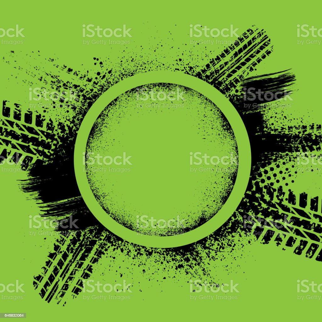 Green grunge tire track background vector art illustration