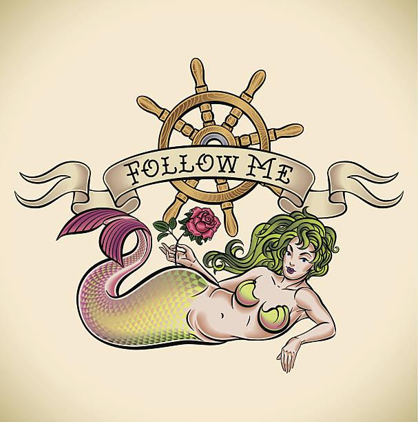 green hair mermaid - follow me - mermaid tattoos stock illustrations, clip art, cartoons, & icons
