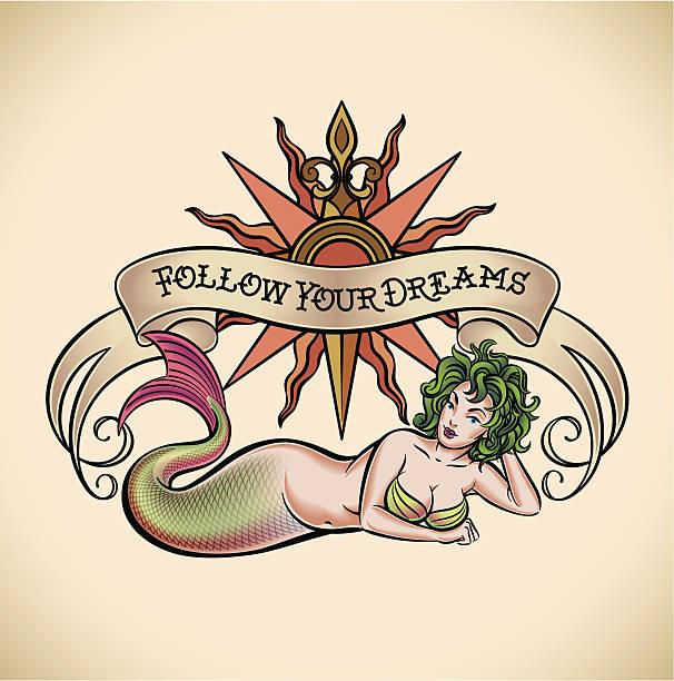 green hair mermaid - follow your dreams - mermaid tattoos stock illustrations, clip art, cartoons, & icons