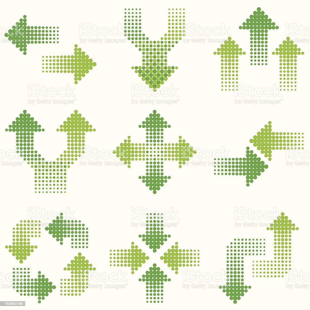 green halftone arrows vector art illustration