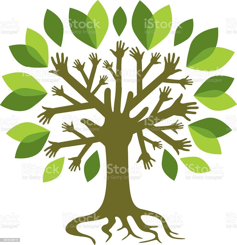 Green hand tree vector art illustration