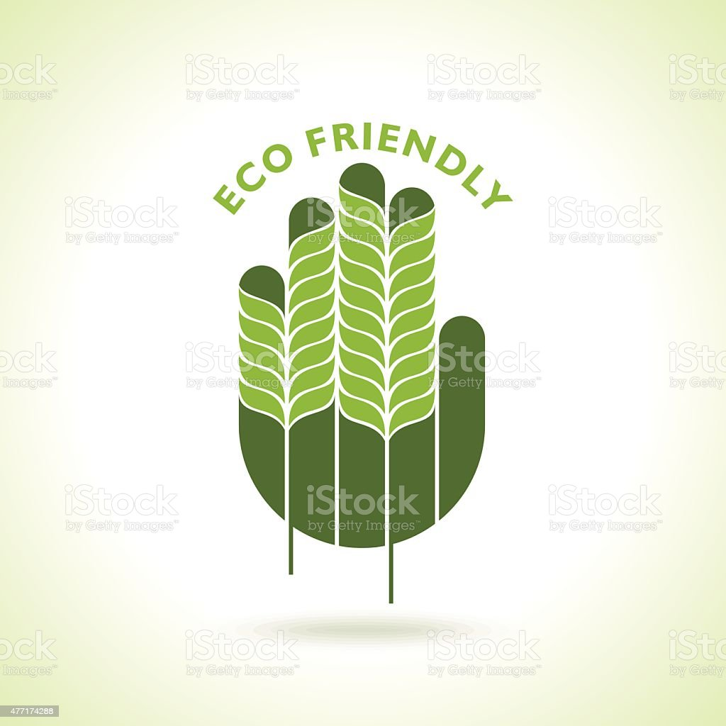 Green hand with green leaf over blue background vector art illustration