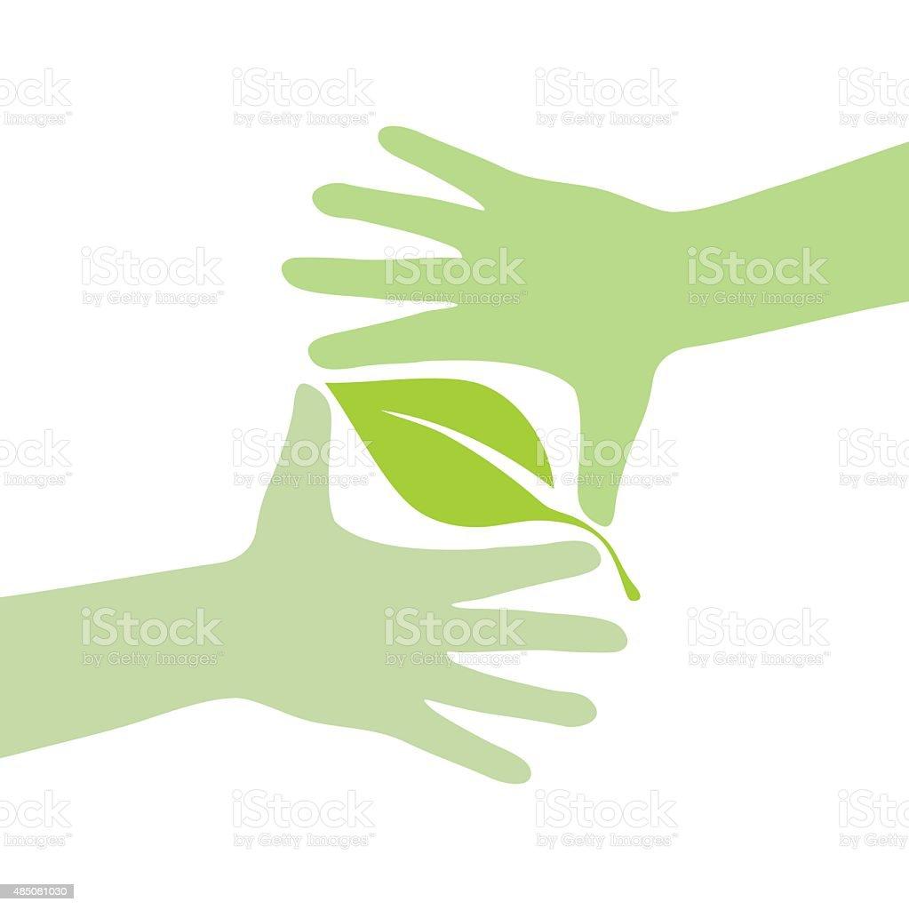 Green hands vector art illustration