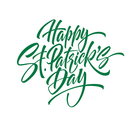 Green handwriting lettering Happy Saint Patricks Day isolated on white background. Vector illustration