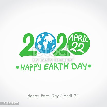 Green handwritten logo Blue planet Earth. 2020. Happy Earth Day. April 22. Vector hand drawn template.