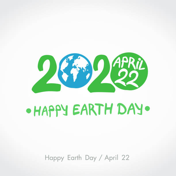 Green handwritten logo Blue planet Earth. 2020. Happy Earth Day. April 22. Vector hand drawn template. Green handwritten logo Blue planet Earth. 2020. Happy Earth Day. April 22. Vector hand drawn template. earth day stock illustrations