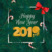 green happy new year 2019 card with fir branches