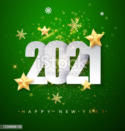 Green Happy New Year 2021 Greeting Card with Confetti Frame. Vector Illustration. Merry Christmas Flyer or Poster Design