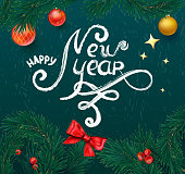 green happy new year card with fir branches and christmas balls