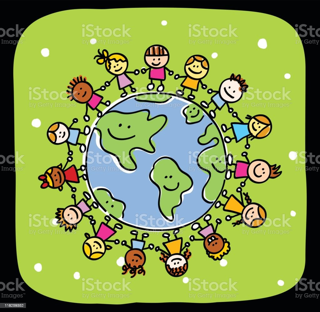 Green Happy World And Kids Holding Hands Peace Symbol Cartoon Stock