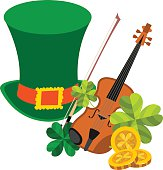 Green hat, violin, clover and gold coins.