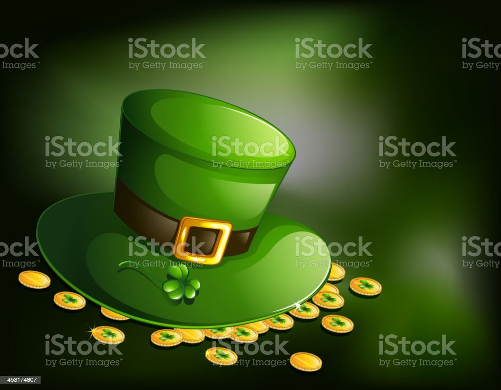 green hat with a clover plant and coins royalty-free green hat with a clover plant and coins stock vector art & more images of anniversary