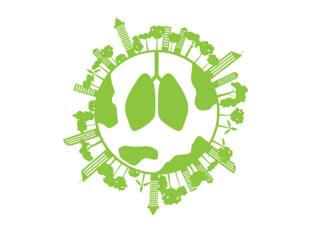 green healthy lung with green city and tree on world vector art illustration