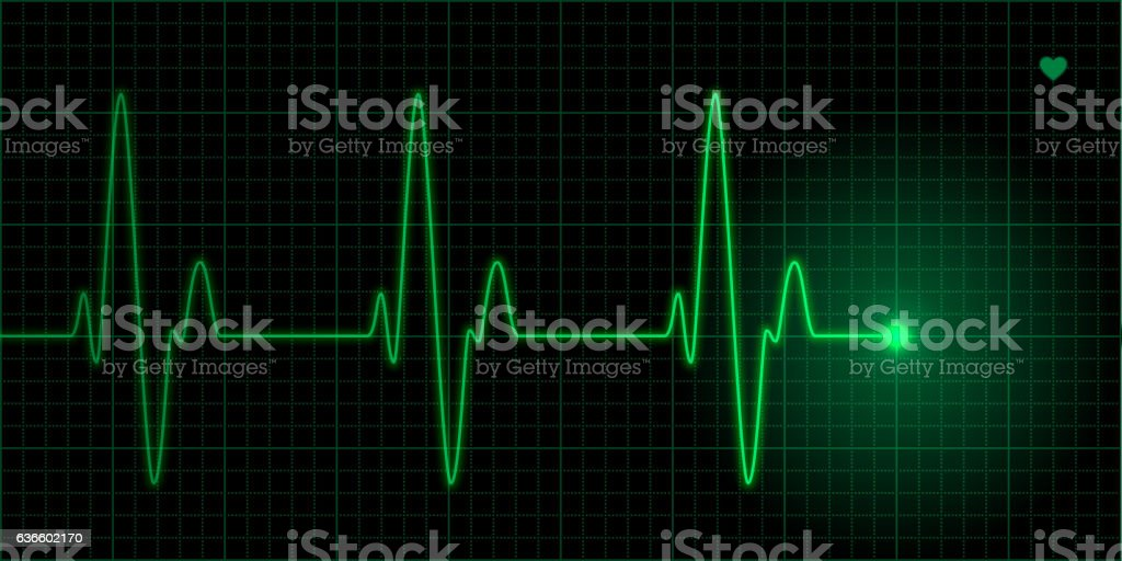 Green heart pulse vector art illustration