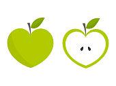 Green heart shaped apple icons. Vector illustration