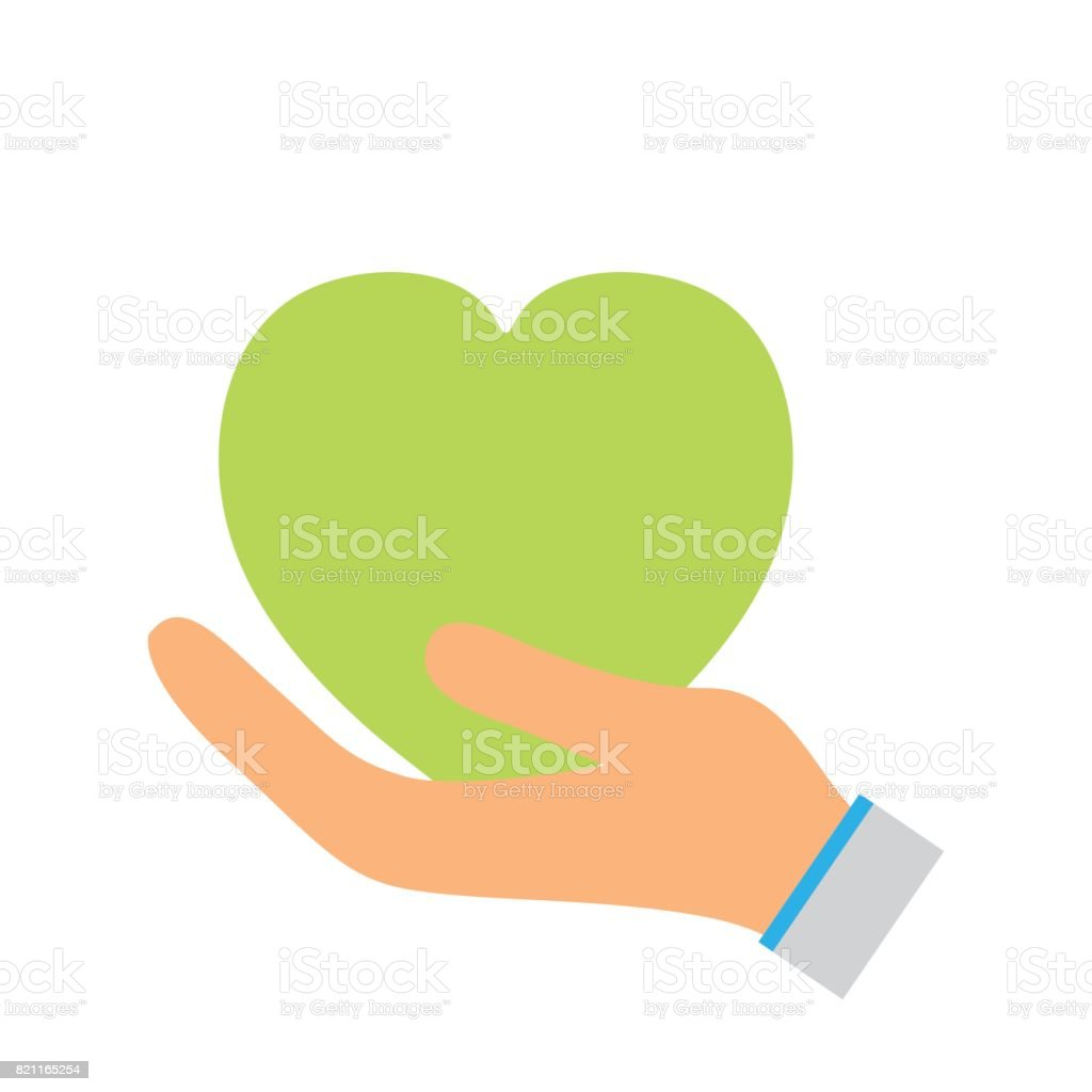 Green Heart To Love Ecology Symbol In The Hand Stock Vector Art