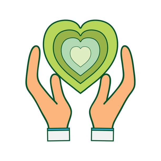 Green Heart To Love Ecology Symbol In The Hands Stock Vector Art