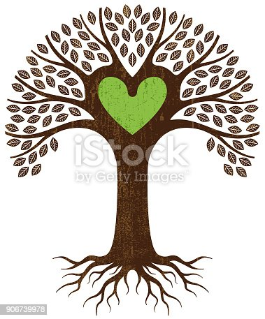 istock Green heart tree illustration 906739978
