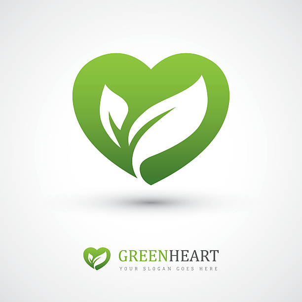 green heart with leaves - vegetarian stock illustrations, clip art, cartoons, & icons