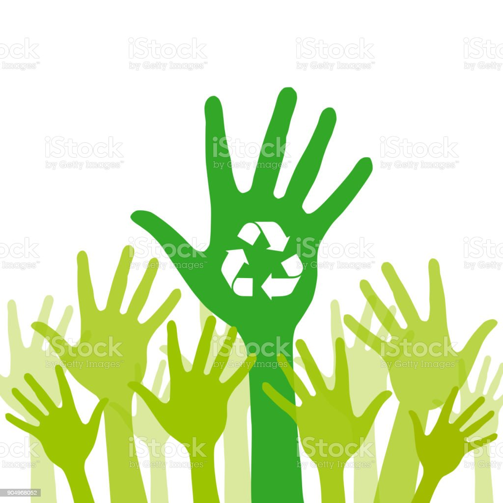 Green helping hand background with recycle icon vector art illustration
