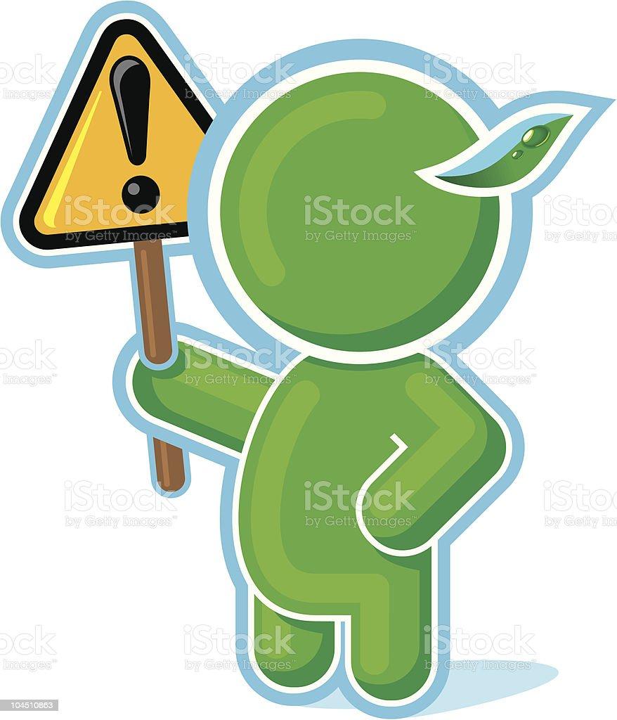 Green Hero raising Warning Sign royalty-free stock vector art