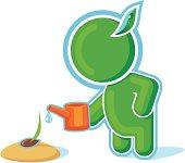 Green Hero watering a Seed