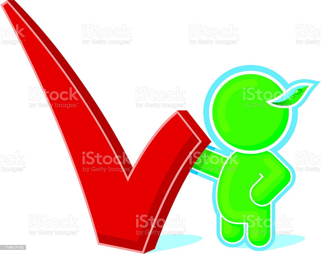 Green Hero with Check Mark royalty-free stock vector art