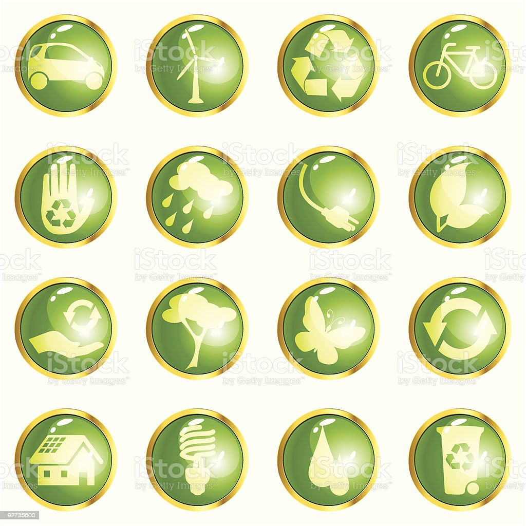 Green High-gloss eco buttons royalty-free stock vector art