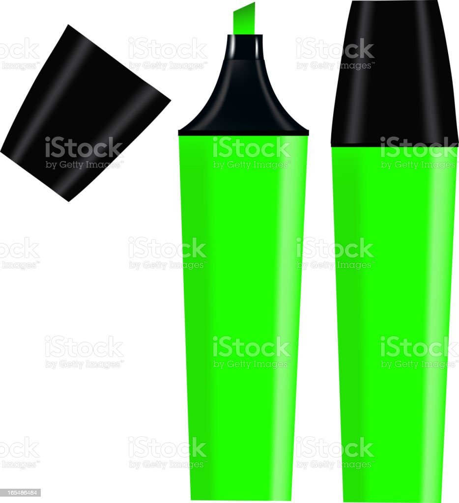 Green Highlighter isolated on white background royalty-free green highlighter isolated on white background stock vector art & more images of at the edge of