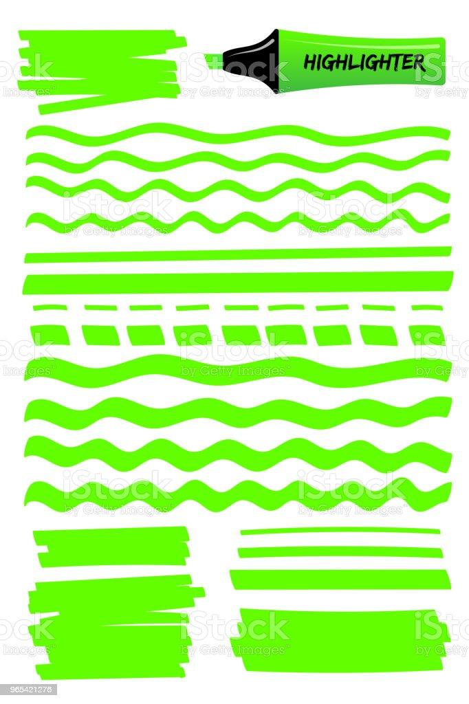 Carrés et lignes de dessinés à la main pour le stylo surligneur vert - clipart vectoriel de Affaires libre de droits