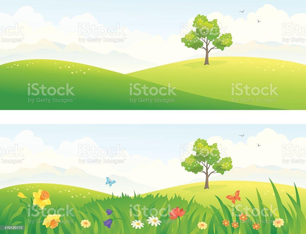 Green hills vector art illustration