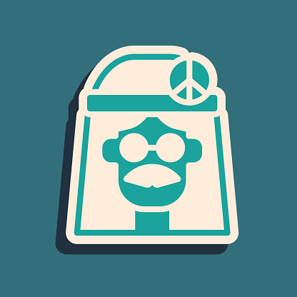 Green Hippie girl icon isolated on green background. Peace and love sign. Symbol pacificism freedom and love. Long shadow style. Vector