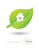 Green home concept with leaf