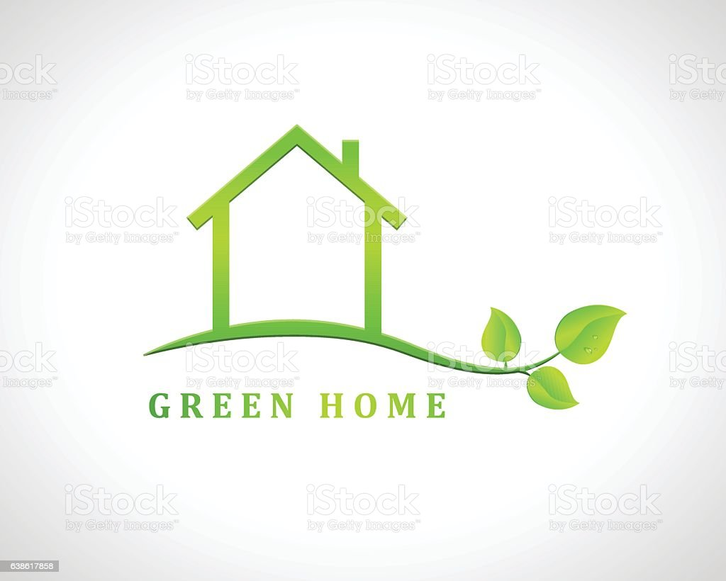 Green Home Design With House And Leaves Stock Vector Art & More ...