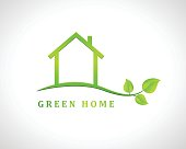 Green home design with house and leaves