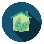 Green Home Environment Icon in thin line flat design style.