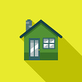 Green Home Flat Design Environmental Icon