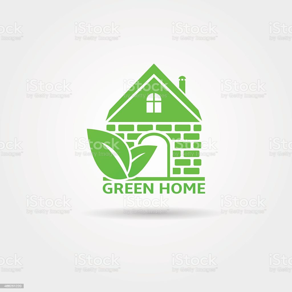 Green Home vector art illustration