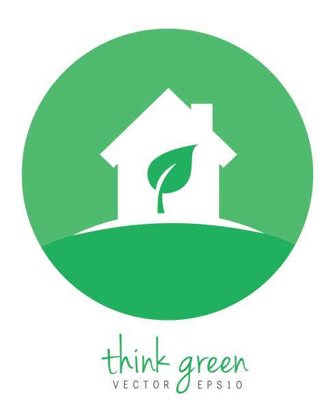 green home with leaf - energy saving stock illustrations, clip art, cartoons, & icons