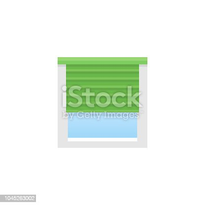 Green horizontal blind. Sun protection shade. Room darkening & light blocking  jalousie. Flat illustration.