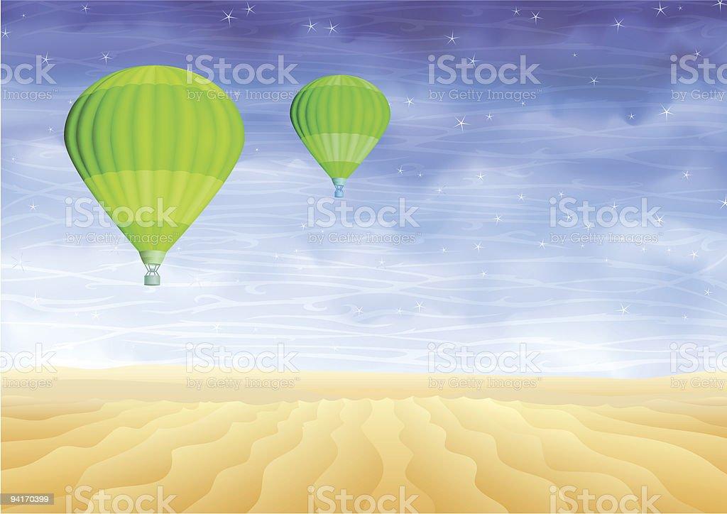 Green hot air balloons over a lifeless sand desert royalty-free stock vector art