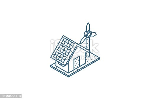 istock Green House concept ecological equipment - solar cells and wind turbine isometric icon. 3d line art technical drawing. Editable stroke vector 1250433113