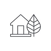 Green House concept ecological equipment thin line icon. Linear vector symbol