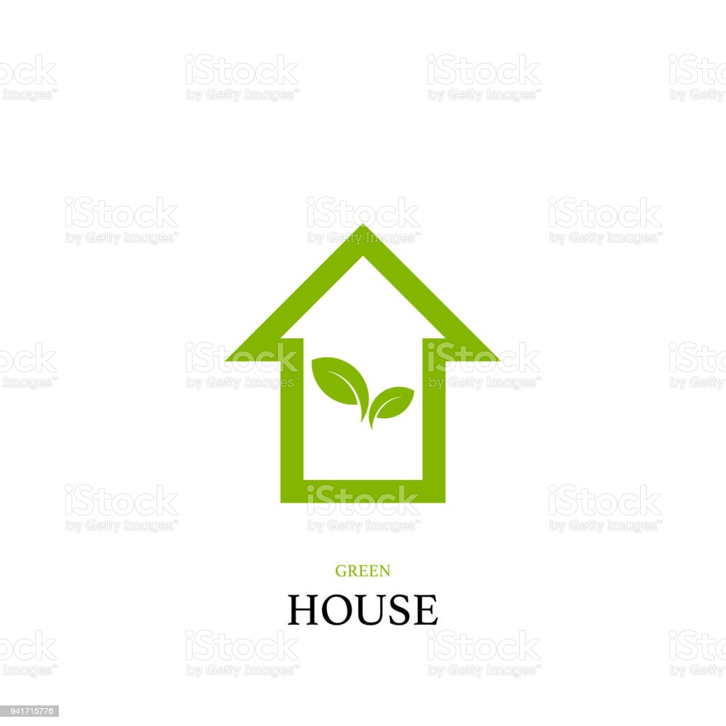 Green House Concept With Home And Green Leaf Logo Vector Design ...