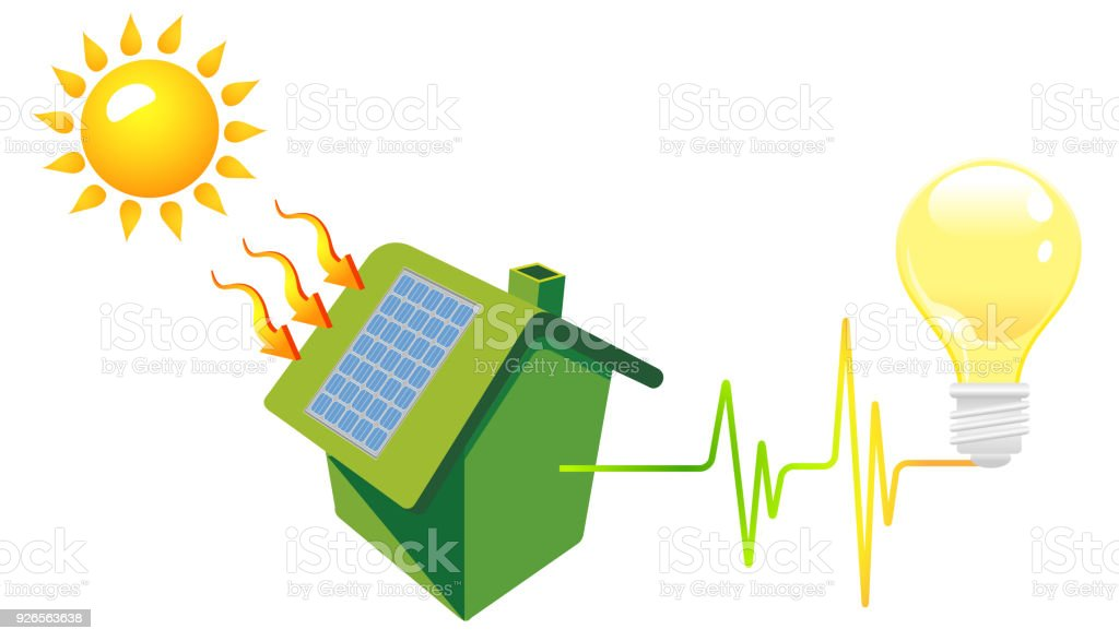 Green House In The Sun With Energy Efficiency Graph Stock Vector Art