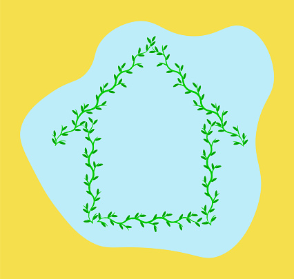 Green house made of branches with leaves isolated on light blue and illuminating yellow background. Ecology nature home concept. Housing development template. Copy space. Poster design. Summer banner.